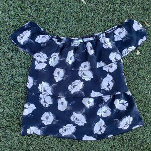 White House Black Market Smokey Floral Off Shoulde